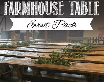 Farmhouse trestle table diy kit made to order etsy farmhouse trestle table diy event packs malvernweather Images