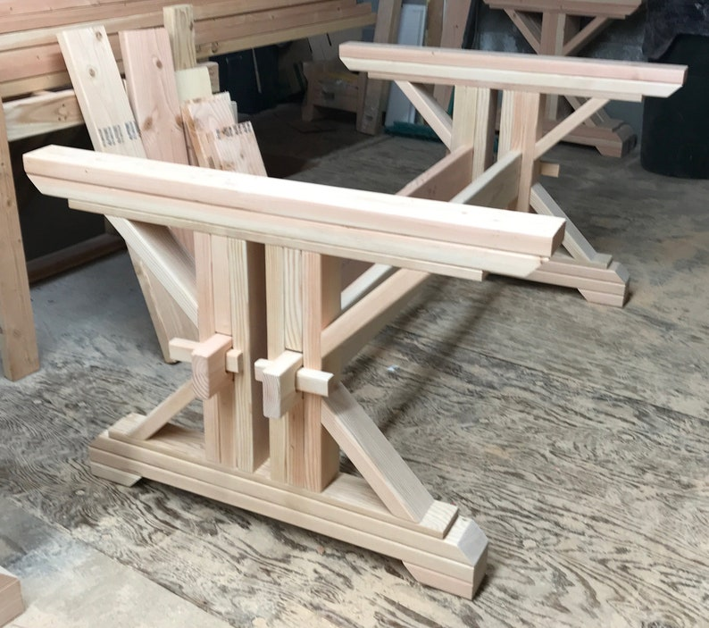 Farmhouse Double Trestle Table Diy Kit Made To Order Etsy