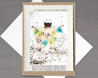 Funny Thank You Card • Flying Squirrel Card • Appreciation Card • Gift for Teacher • Animal Tales Collection • Thank You Card for Friend