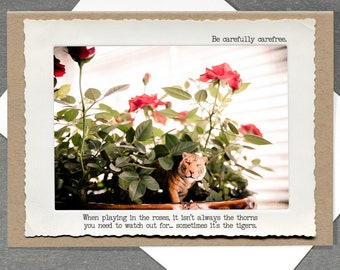 Life Lessons Greeting Card • Toy Tiger Card • Motivational Card • Toy Photography Card • Animal Tales Collection