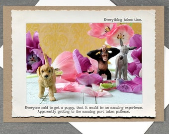 Funny Puppy Greeting Card • Fist Dog Card • Card for Dog Lovers • Card for Pet Owners • Everyday Empathy • Toy Animal Photography