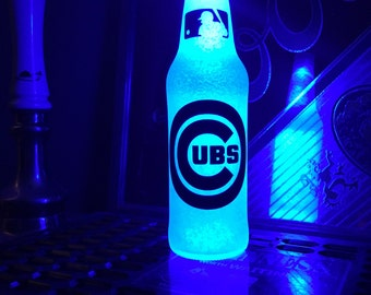 Wireless MLB Chicago Cubs Bottle Light Led Baseball 12 .OZ Beer Lager Ale Pub Bar Pool Neon Lamp Man Cave Sign Steady or Flashing