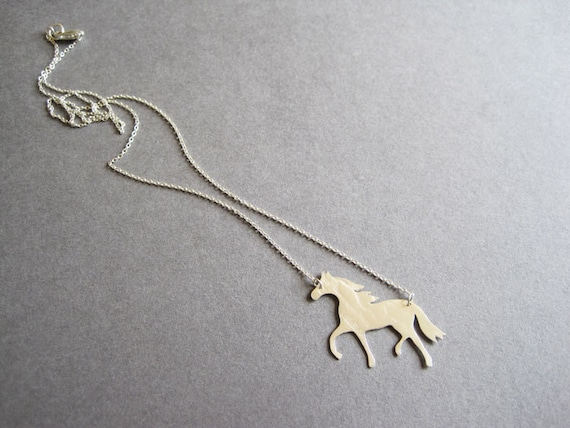 Silver Yellow Plated Horse Head Charm 24mm
