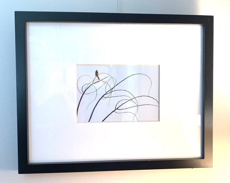 Curved branch bird 12x15 framed inches