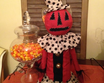 Primitive Halloween Pumpkin Doll, Jack the Pumpkin Doll with Polka Dot Dress, Handmade Doll