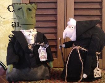Frankenstein and Igor Primitive Halloween Figures, Set of Two Handmade Decoration