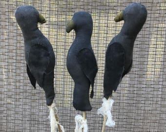 Primitive Crows, Set of 3, Handmade Fabric Crows on Stick