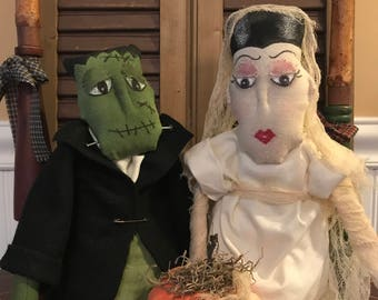 Primitive Halloween Frankenstein and his Bride with a Pumpkin cake and their pet Mouse as the best man, Handmade Dolls