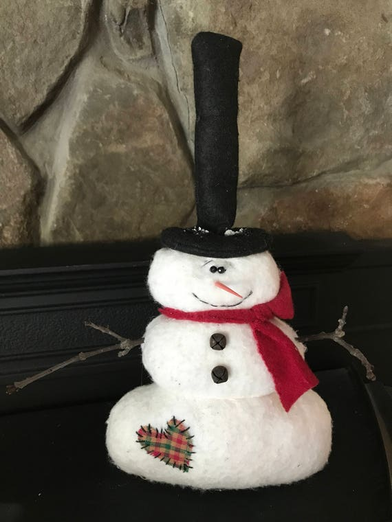 Scarf /& Heart Design TIMER Candles 2 Primitive SNOWMAN w// Stocking Cap