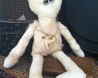 Primitive Halloween Raggedy Mummy Doll, Handmade Halloween Doll, Primitive Doll