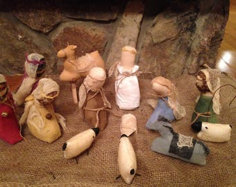 Primitive Nativity Set, Mary Joseph and Baby Jesus, Angel, Wise Men, Shepherd and Sheep, Camel and Donkey, Handmade Nativity Set