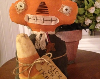 Primitive Handmade Halloween Pumpkin Man with Candy Corn Trick or Treat