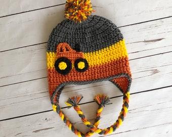 Crochet Tractor Hat Etsy