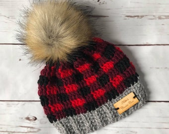 f4b4595fc Baby Winter Hat, Newborn Buffalo Plaid Beanie, Crochet Lumberjack Plaid Hat,  Wild One Buffalo Plaid, Baby Shower Gift