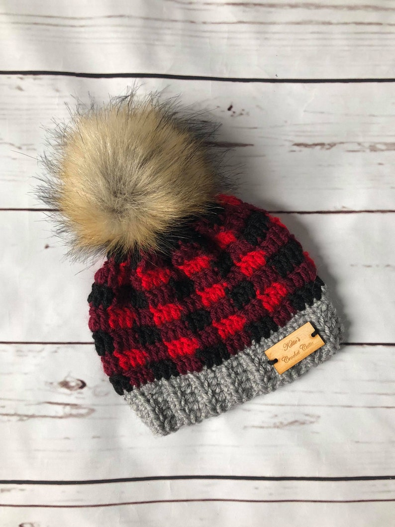 Baby Winter Hat Newborn Buffalo Plaid Beanie Crochet  0c40d669d5a2