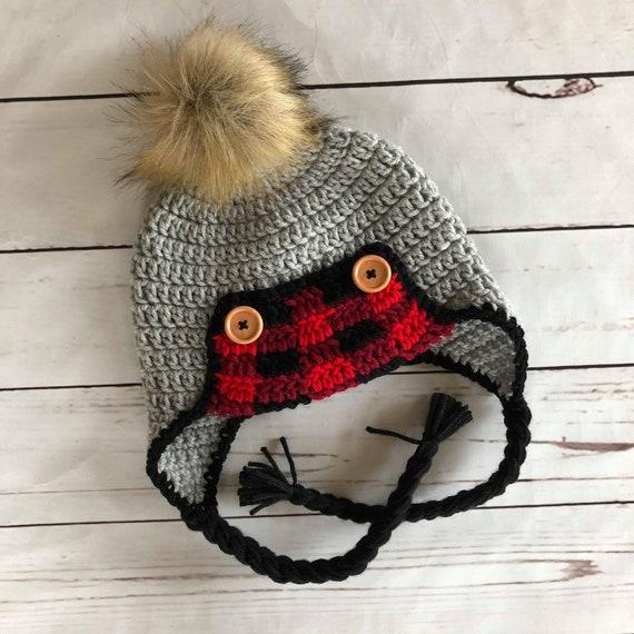 Crochet Plaid Trapper Hat Buffalo Plaid Hat Lumberjack Hat  cae7d4bab50