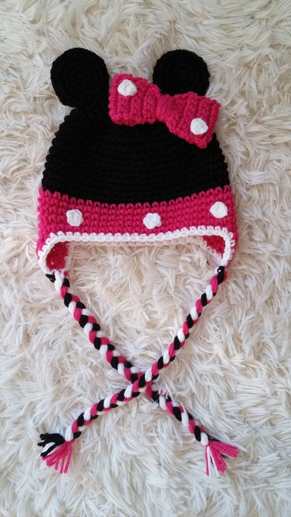 Bonnet en Crochet inspiré Minnie Mouse chapeau bébé fille   Etsy c7a8b45ab4b