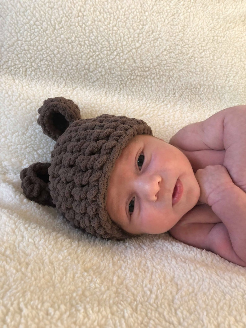 dba9845301e Newborn Bear Hat Crochet Bear Hat Teddy Bear Beanie Crochet