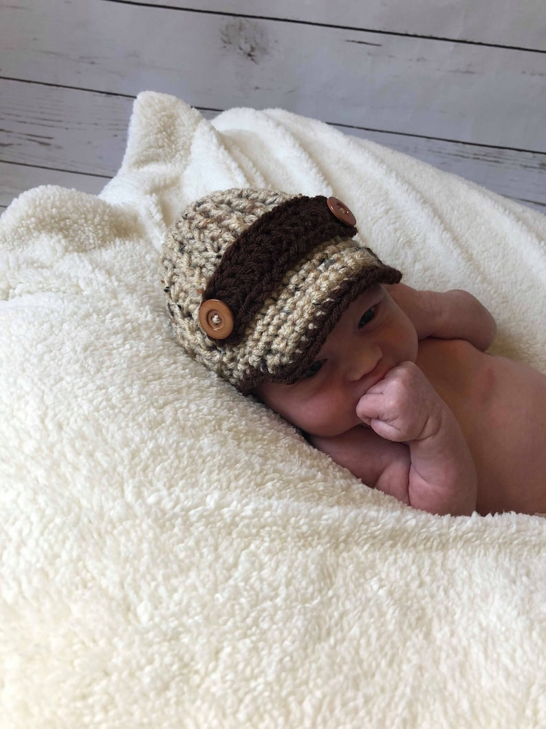3c2c7f6e Newborn Baby Boy Hat with Brim Crochet Baby Hat Coming Home | Etsy
