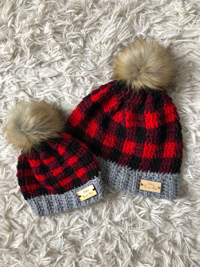 bf5f7fba17148 Mommy And Me Crochet Buffalo Plaid Hat Matching Hats Crochet