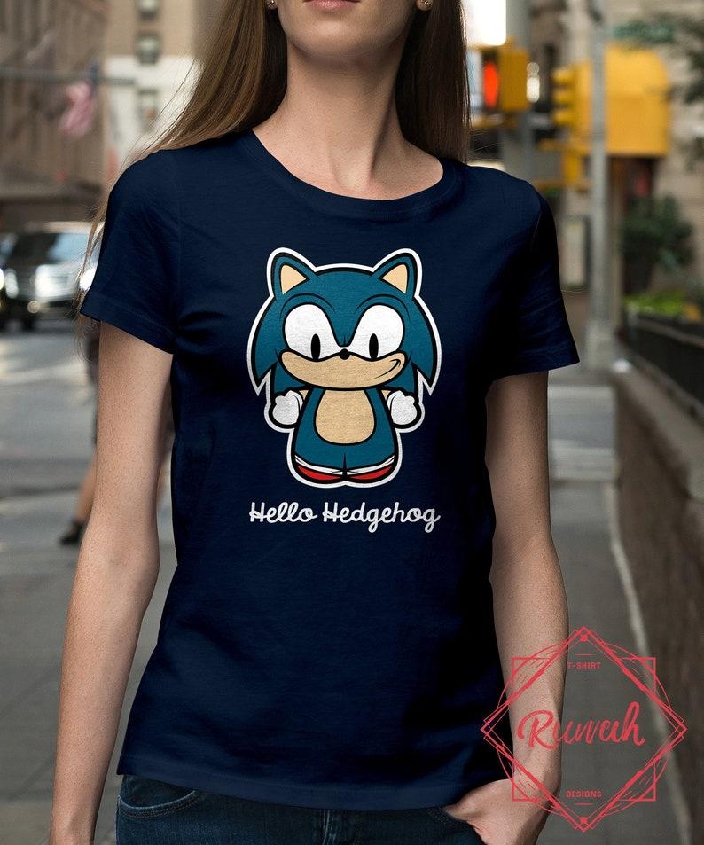45d8b352 Womens Slim Fit: Hello Hedgehog / Sonic t-shirt | Etsy