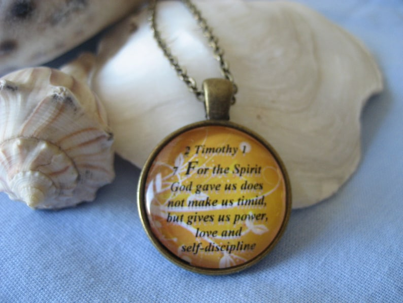 Scripture Necklace Bible Verse Necklace Gift Box Included Bible Verse 2 Timothy 1:7 For The Spirit God Gave Us Does Not Make Us Timid