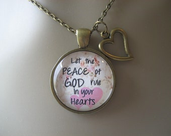 Bible Verse Necklace - Scripture Necklace - Colossians 3:15 Let the Peace of God Rule in Your Hearts - Christian Necklace