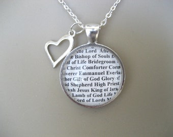 The Many Names of Jesus Throughout The Bible Necklace - Christian Necklace - Comforter, Lord of Hosts Necklace - Gift Box Included