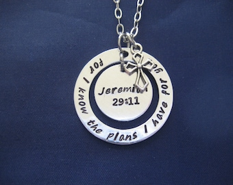 Jeremiah 29:11 For I know the plans I have for you hand stamped washer necklace