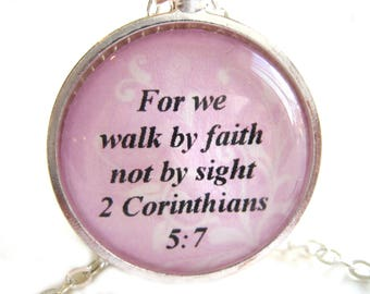 Bible Verse Necklace - Scripture Necklace - For We Walk By Faith  Bible Verse 2 Corinthians 5:7 Gift Box Included