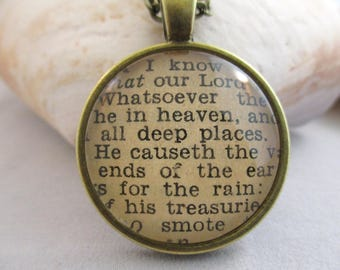 Bible Verse Necklace - Scripture Necklace - The Lord is Great Psalm 135:5-7 From an Antique Bible - One of a Kind - Christian Necklace