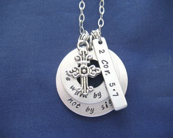 Hand Stamped Bible Verse Necklace - Scripture Necklace - Bible Verse 2 Corinthians 5:7 We Walk By Faith Not By Sight - Gift Box Included