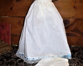 6eddf12ce15 DOLL PETTICOAT   PANTALOONS Vintage Half-Slip Plus Bloomers White Cotton  w Blue Satin Ribbon Lace Trim Fits 18