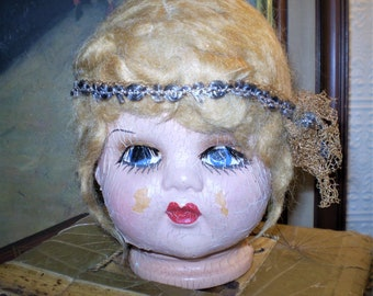 904588dbbee BOUDOIR DOLL HEAD Antique 1920 s 1930 s Brocante Flapper Girl Composition  Shabby For Repair Parts Damage Display Prop Old Dolls Display