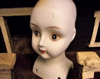 Vtg Antique Parian White Bisque Doll Head Dome Top Large 6.5 Pale For Parts Vintage Repair Creepy Dolls Art Display