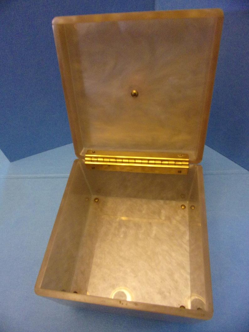 Antique Bakelite Trinket Box 5 Cube Marbled Footed wHinged Lid Mid CenturyArt Deco Vanity Jewelry Desk Storage