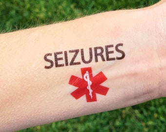SEIZURES, Medical Alert Temporary Tattoos