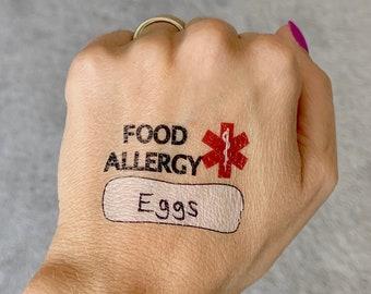 FOOD ALLERGY, Write-on, Medical Alert Temporary Tattoos