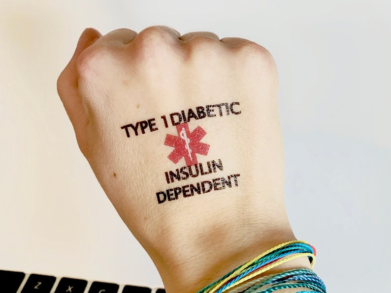 TYPE 1 DIABETES Insulin Dependent Medical Alert Temporary image 0