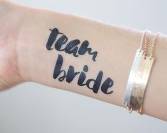 Bold TEAM BRIDE temporary tattoos