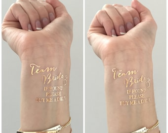 METALLIC gold TEAM BRIDE  buy me a drink Bachelorette Party temporary tattoos