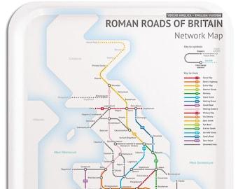 Roman Roads Of Britain Subway Map.Glasgow Subway Etsy