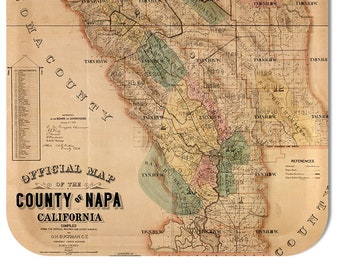 "Napa County 1874 Map Tray 16 1/2"" x 12 1/2"""