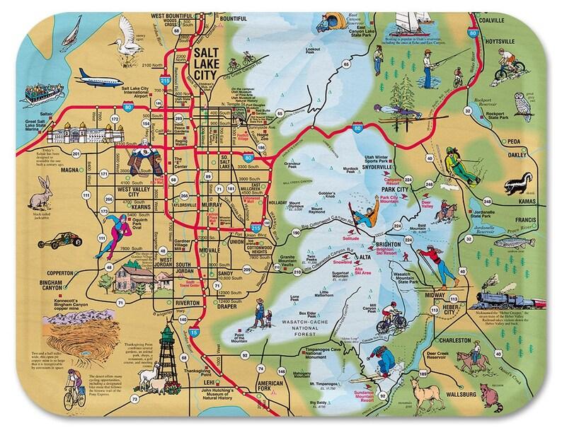 Salt Lake City Illustrated Serving Tray image 0