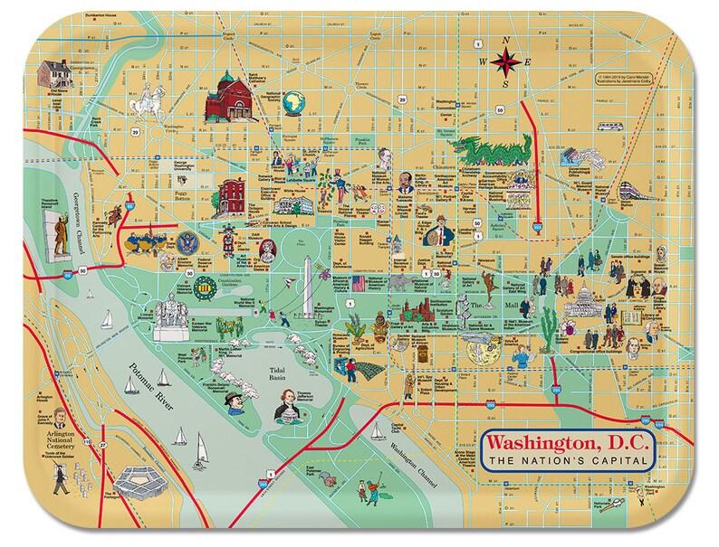 Washington DC City Map Serving Tray  Washington DC Ornaments image 1