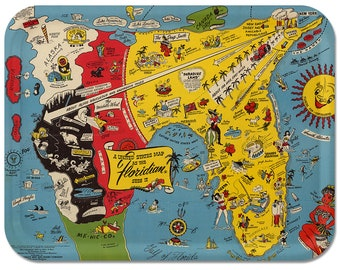 USA as Floridian Sees It 1948 Serving Tray