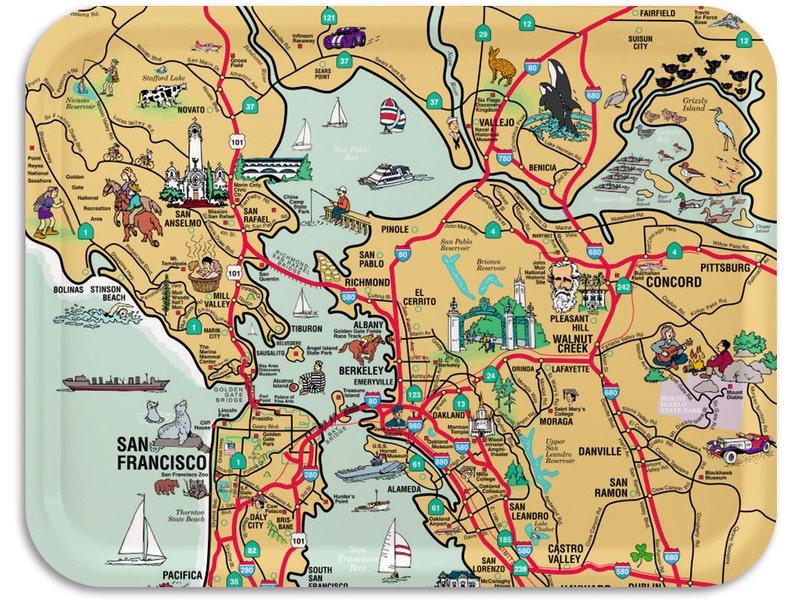 San Francisco Art Serving Tray Wood  San Francisco Print image 0