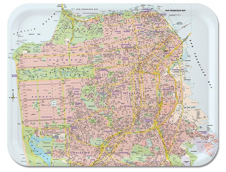 San Francisco Street Map Serving Tray 17x13 | Etsy