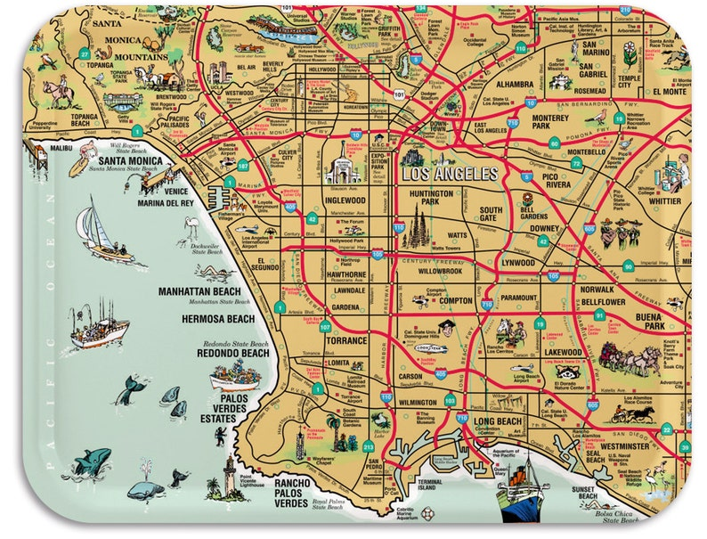 Los Angeles Map Serving Tray  Palos Verdes Map Wooden Tray  image 0