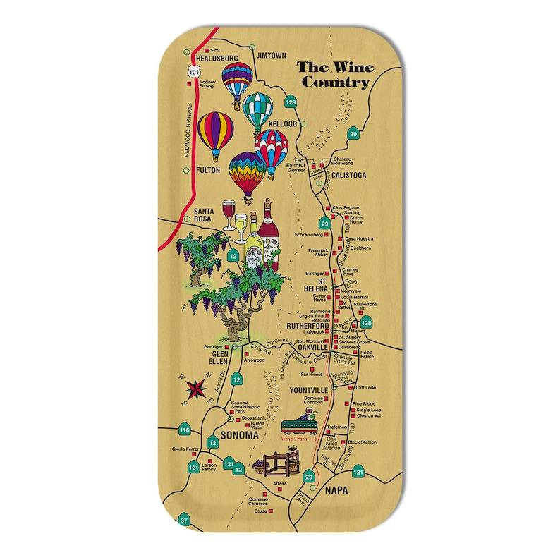 Napa Wine Map Tray  Wine Lover Gift  Napa Wine Country image 1